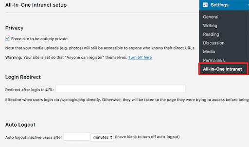 wordpress plugin intranett og ekstranett